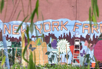 Sign for East New York Farms community garden
