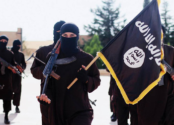 ISIS members marching with flag