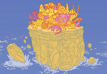 Illustration by Eric Nyquist of animals trying not to fall off cliffs of tiny island