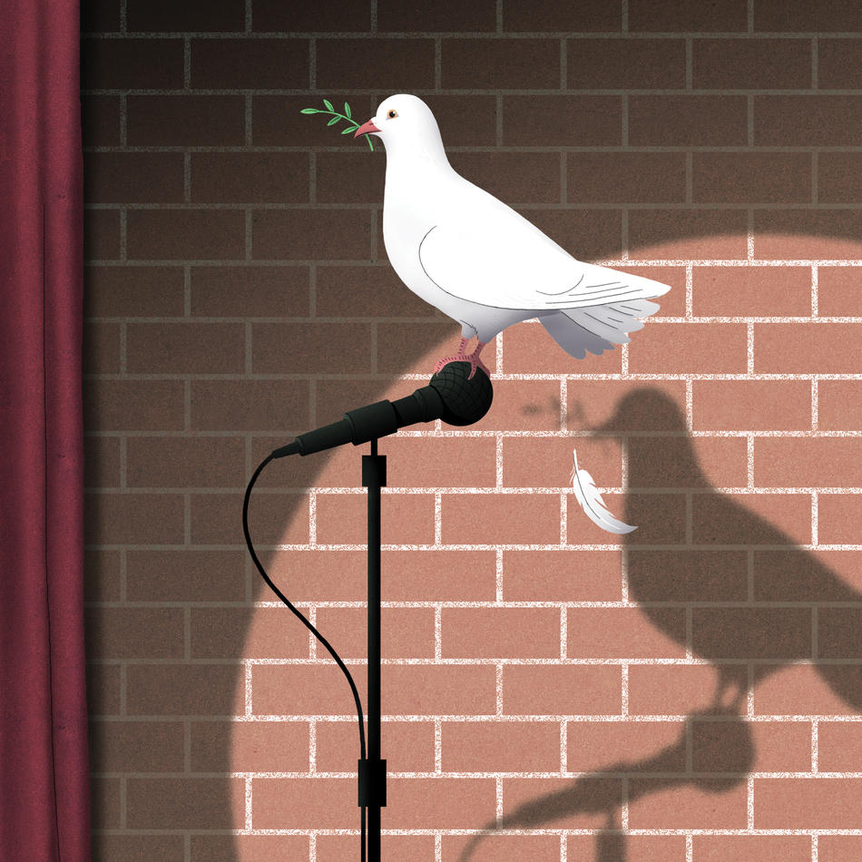 Dove on microphone