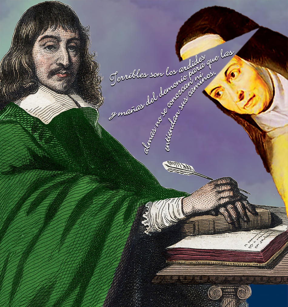 Illustration of Descartes and a nun
