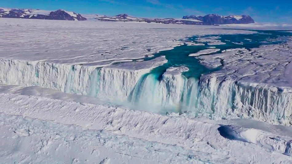Nansen ice shelf waterfall