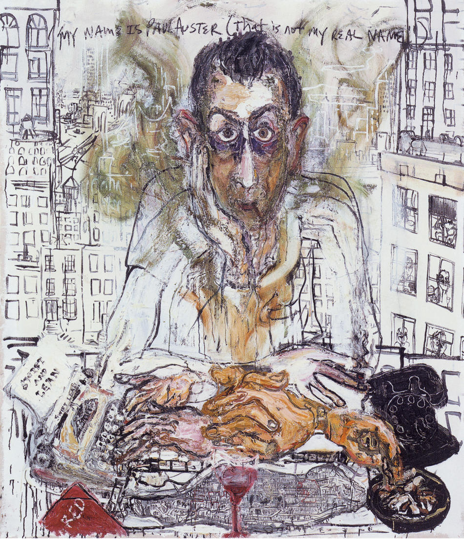 "Sam Messer painting: ""My name is Paul Auster, that is not my real name"""