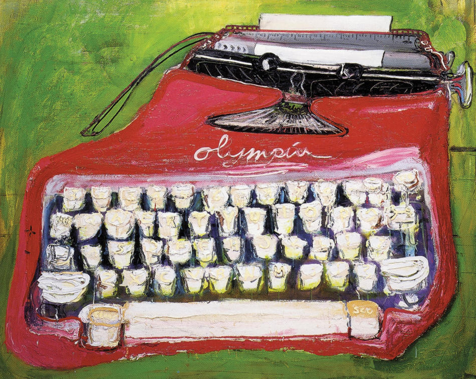 "Painting: ""Pink Olympia"" by Sam Messer (Paul Auster's typewriter)"