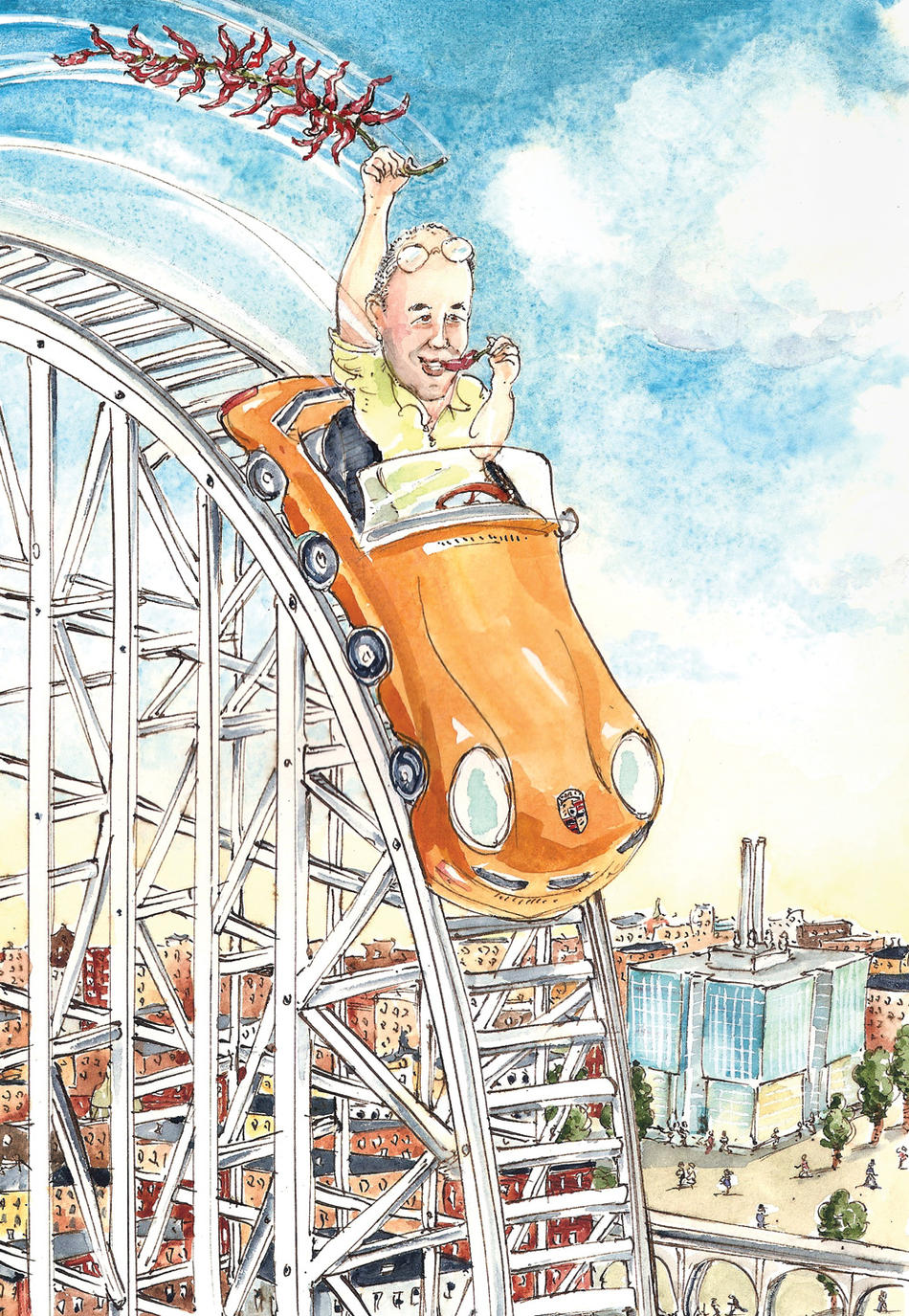 Illustration of Columbia scientist Charles Zuker on rollercoaster by Mark Steele