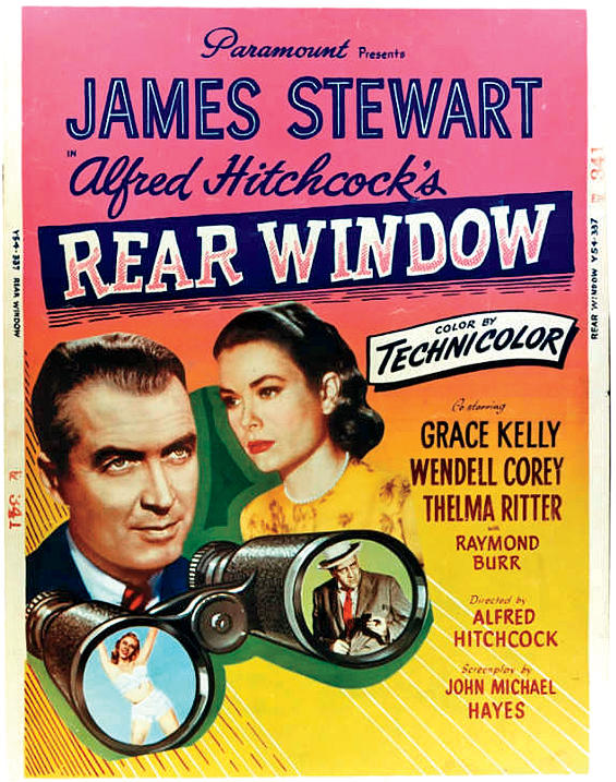 "Vintage poster of ""Rear Window"" directed by Alfred Hitchcock"