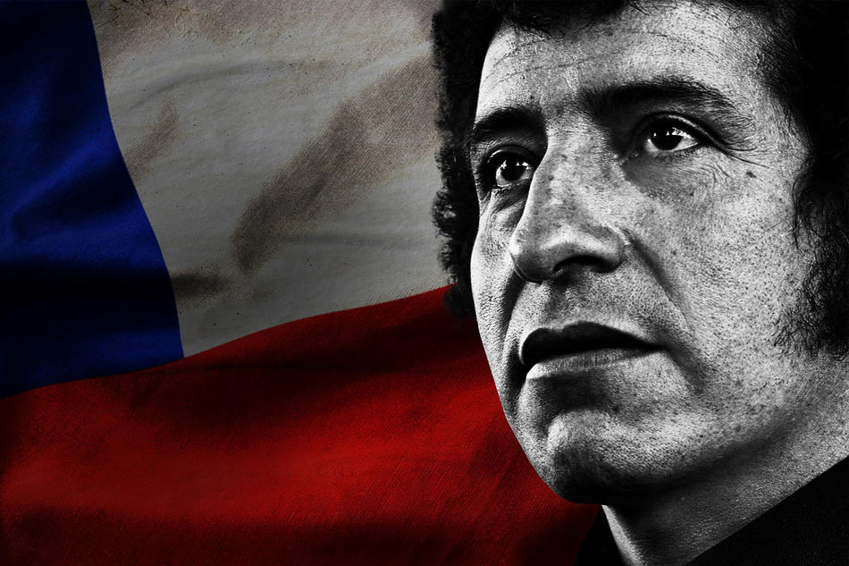 Víctor Jara in front of Chilean flag. Still from ReMastered: Massacre at the Stadium on Netflix