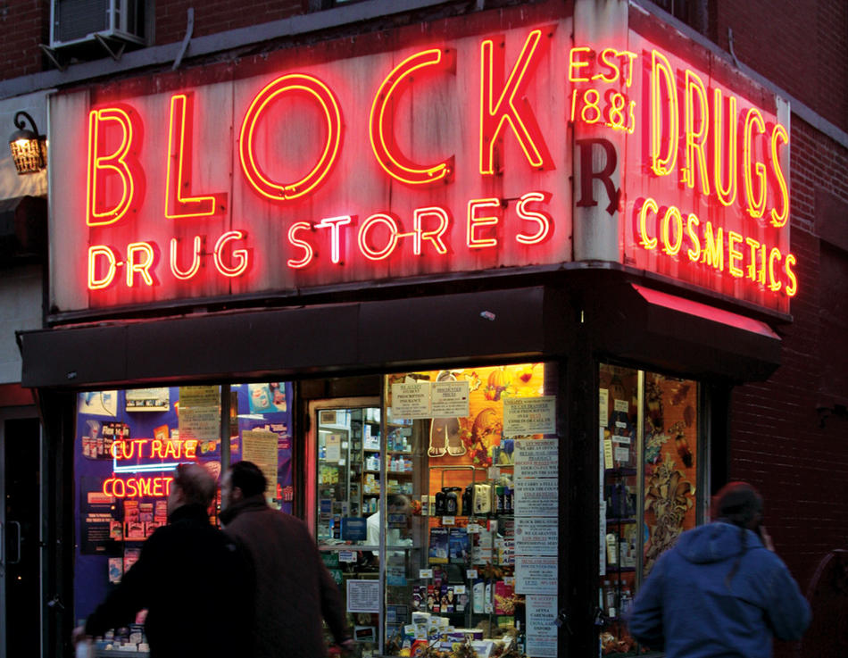 "Photo of NYC drug store from ""New York Neon"" By Thomas E. Rinaldi"