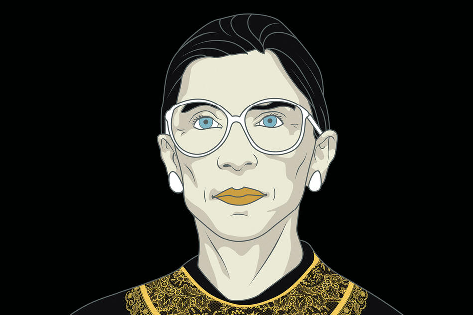 "Illustration of Supreme Court Justice Ruth Bader Ginsburg for ""RBG"" documentary film poster"