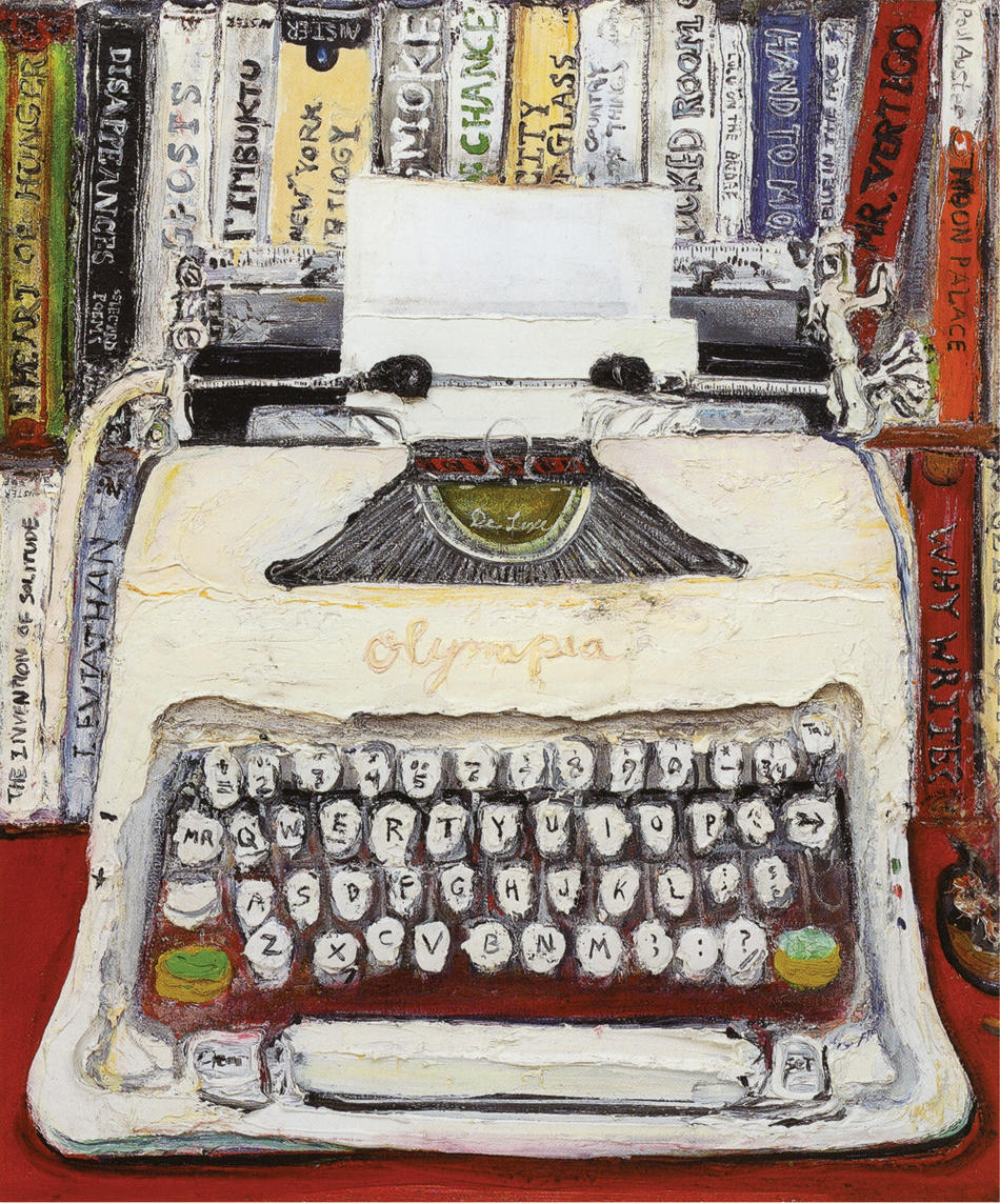 "Painting: ""The Whole Story"" by Sam Messer (Paul Auster's typewriter)"