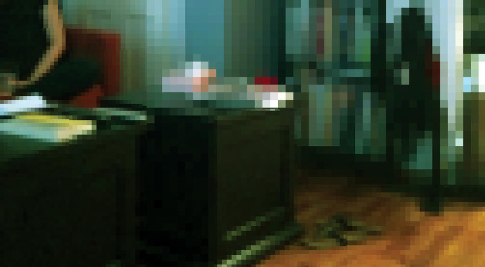 Pixelated photo of home interior