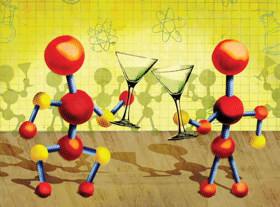 Cartoon of anthropomorphized molecules clinking martini glasses