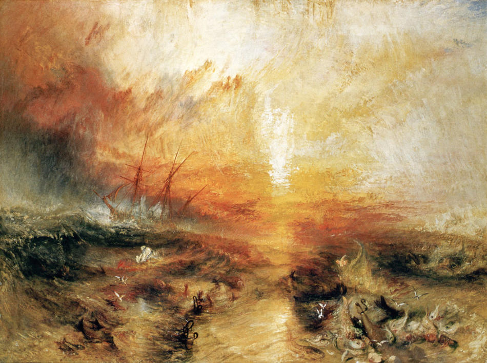 "Painting: ""Slavers Throwing Overboard the Dead and Dying, Typhoon Coming On"" by J. M. W. Turner (1840)"