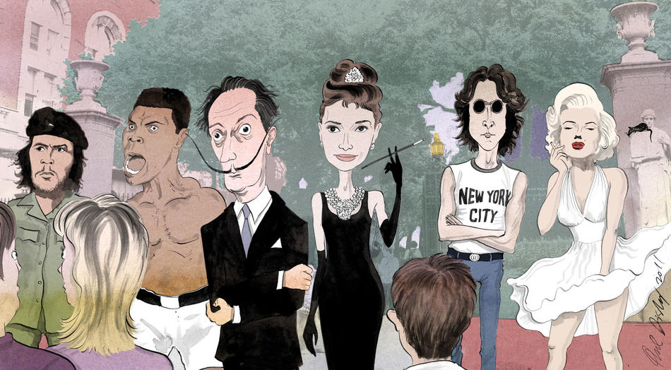 Illustration of Che Guevara, Muhammad Ali, Salvador Dali, Audrey Hepburn, John Lennon, and Marilyn Monroe on Columbia campus