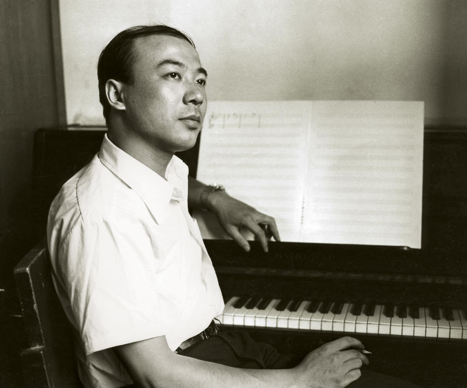 Zhou Long in his studio at the China Broadcasting Corporation in Beijing, 1984