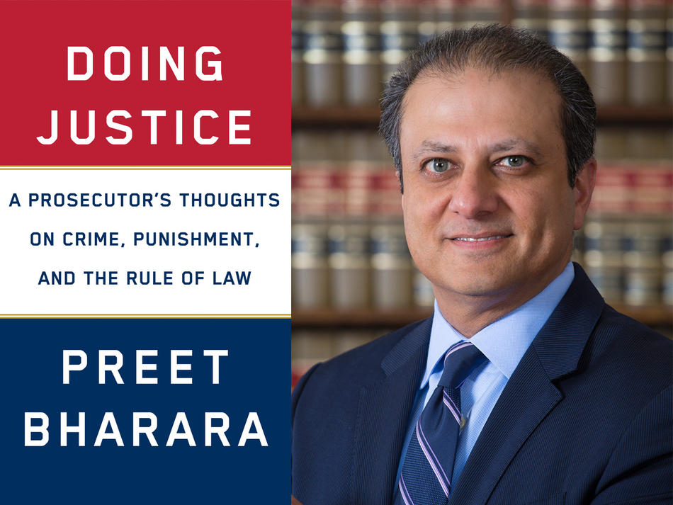 "Preet Bharara next to book cover of ""Doing Justice: A Prosecutor's Thoughts on Crime, Punishment, and the Rule of Law"""