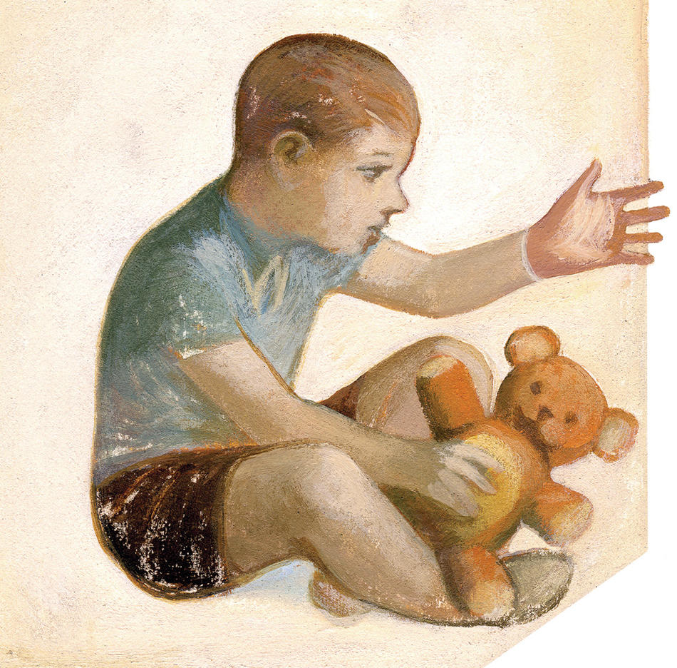 Illustration of child with teddybear