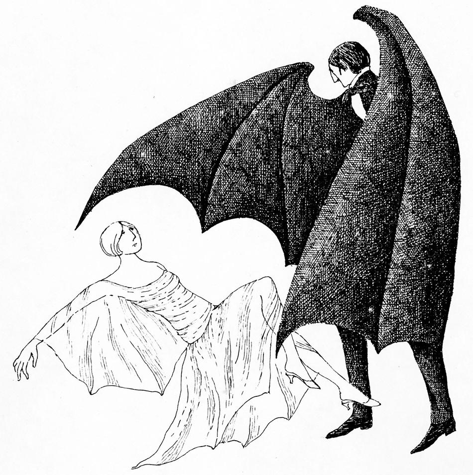 Edward Gorey created this pen-and-ink drawing to promote the 1977 Broadway production of Dracula, for which he also designed stage sets and costumes, winning a Tony Award for the latter. The drawing is part of Columbia's new Gorey collection