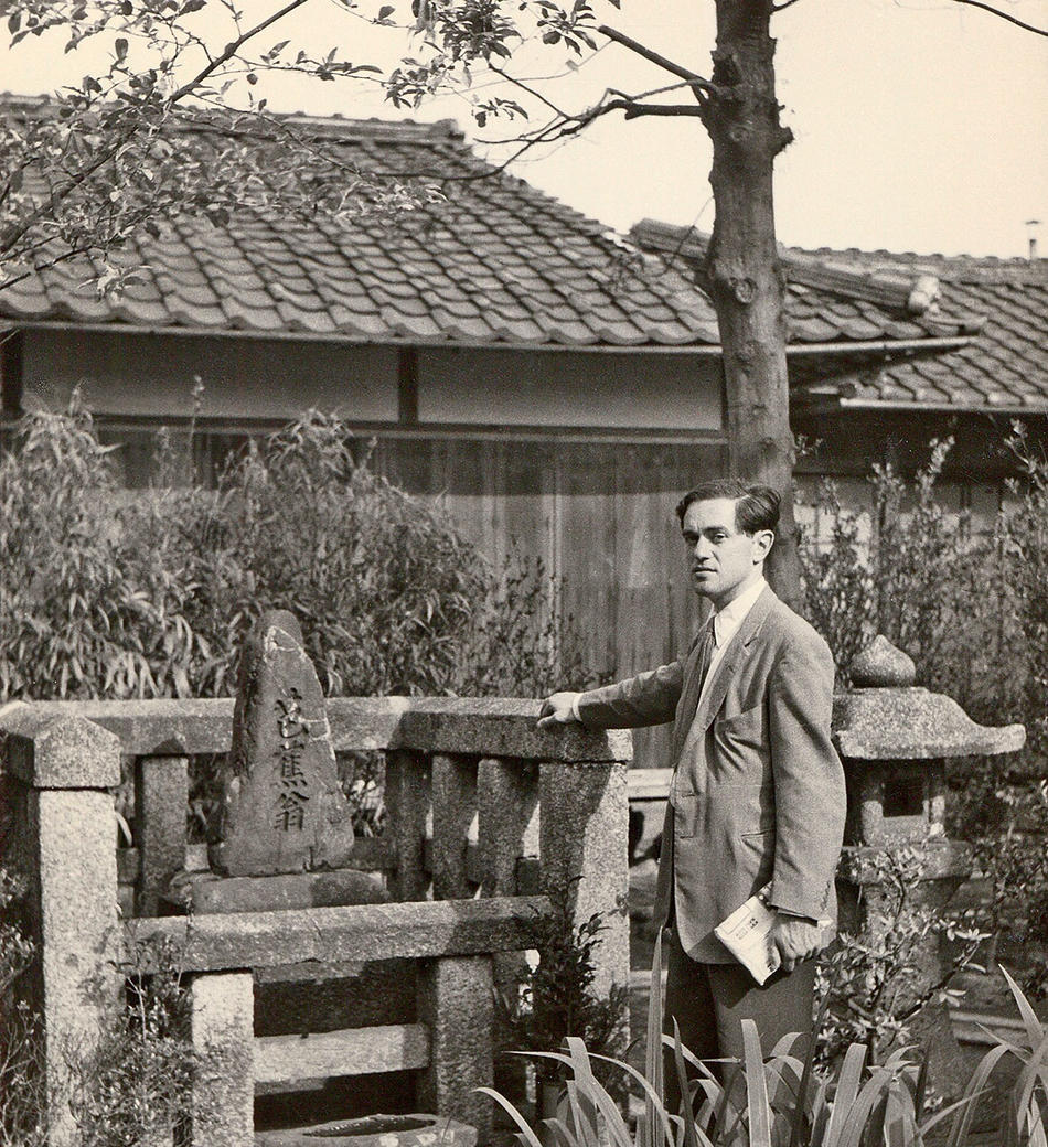 Donald Keene at poet Basho's tomb in Zeze, Japan, 1955.