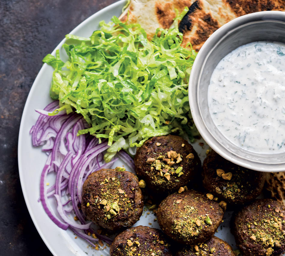 Pistachio-Mint Beef Kofta from Christopher Kimball