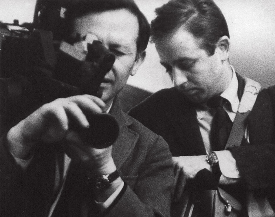 Albert (with camera) and David Maysles used lightweight cameras and sound equipment to produce documentaries of unprecedented intimacy. This photo from their archives was taken in the 1960s
