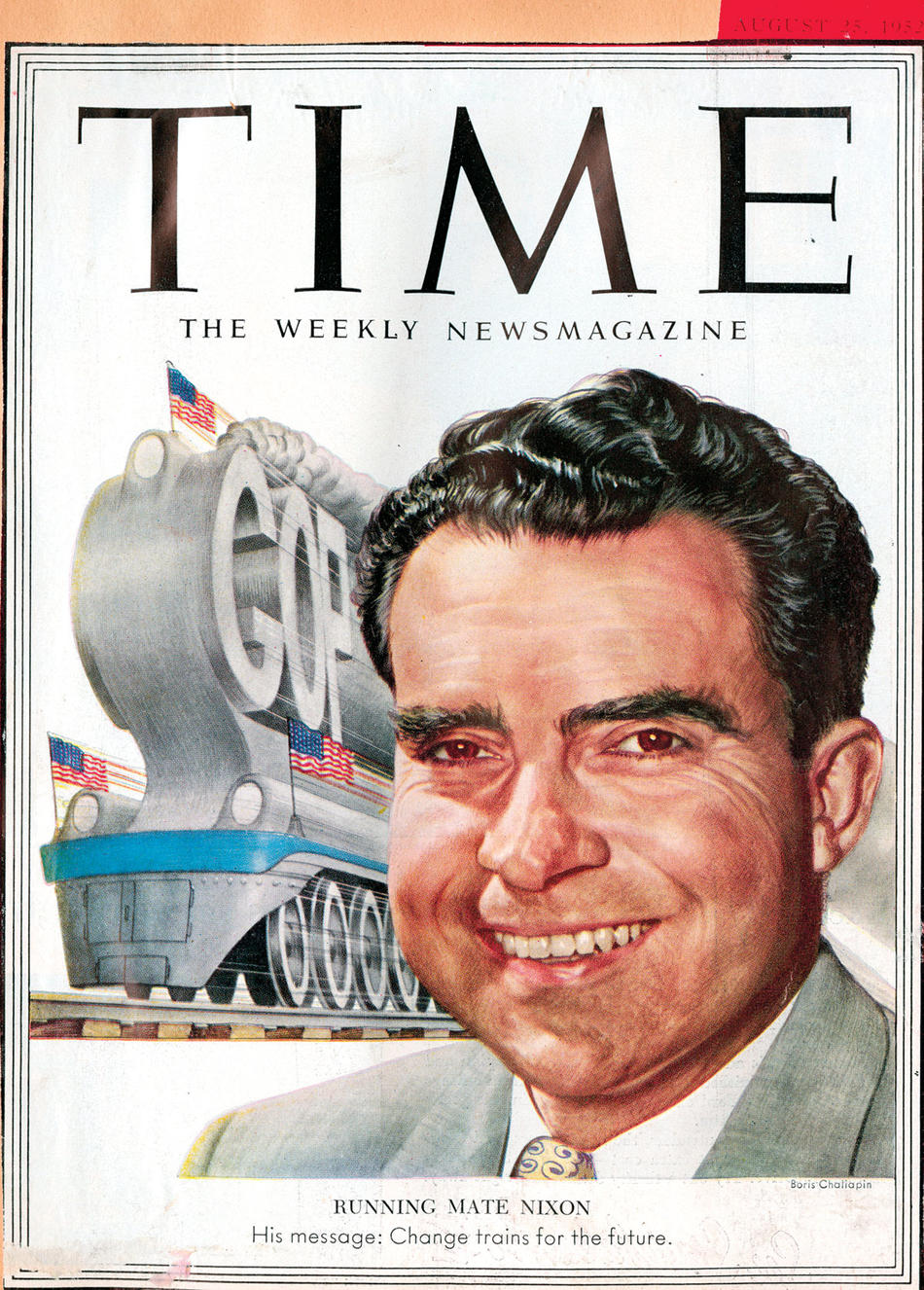 Borris Chaliapin's painting of vice presidential candidate Richard Nixon as it appeared on the August 25, 1952, cover of Time