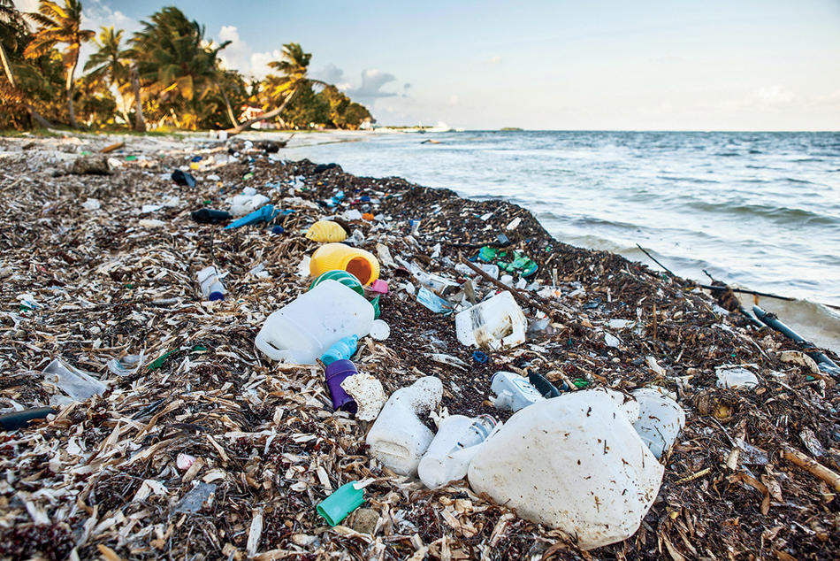 Plastic refuse litters the Turneffe Atoll in the Caribbean Sea, off the coast of Belize.