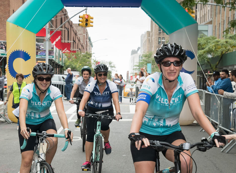 Cyclists at the Columbia University Irving Medical Center Velocity Ride Event