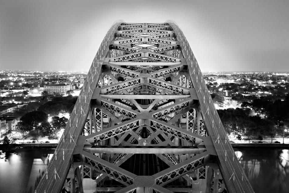 Photograph by Steve Duncan of the Hellgate Bridge, view toward Queens