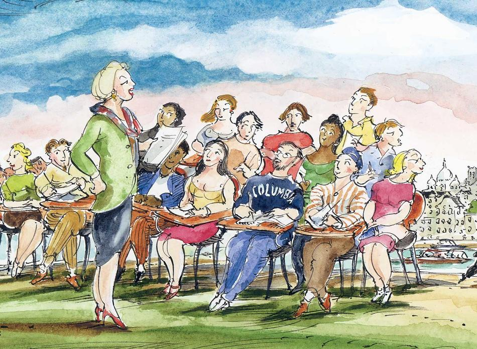 Illustration by Mark Steele of Priscilla Parkhurst Ferguson teaching her Columbia course Food and the Social Order