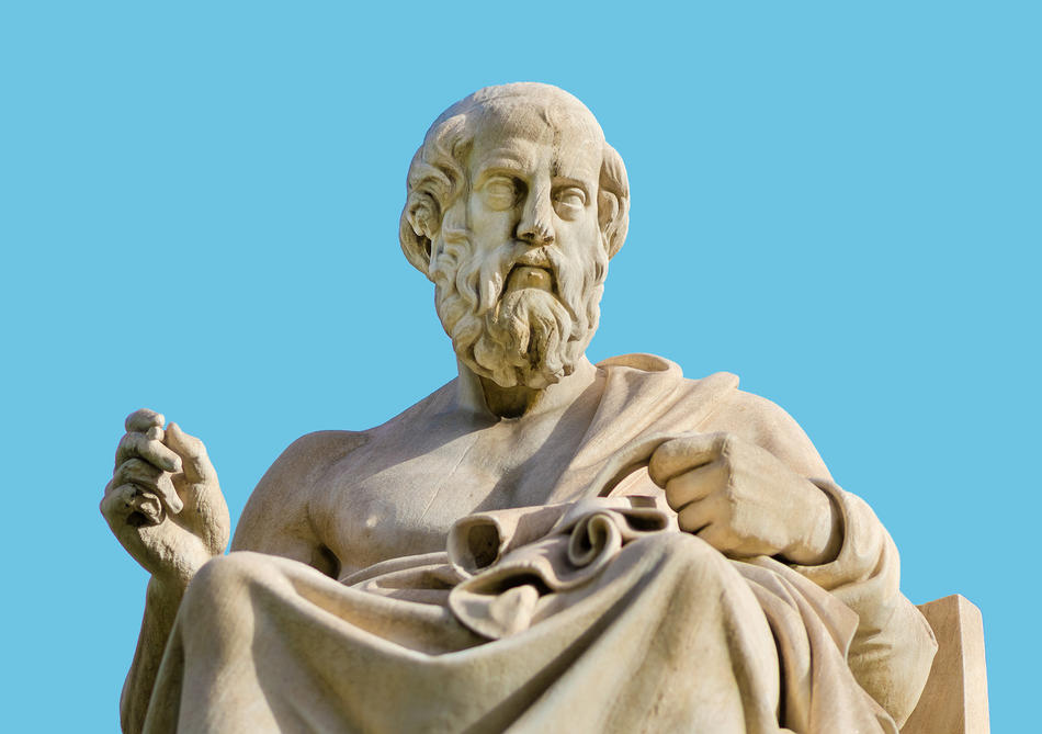 Statue of Plato against blue background