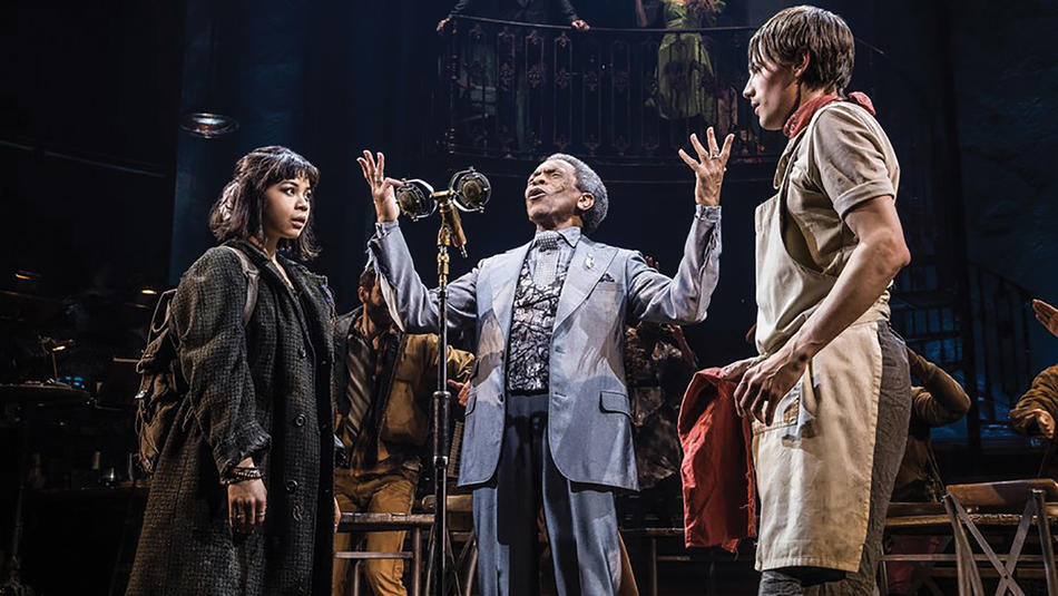 Eva Noblezada, André De Shields, and Reeve Carney in Hadestown