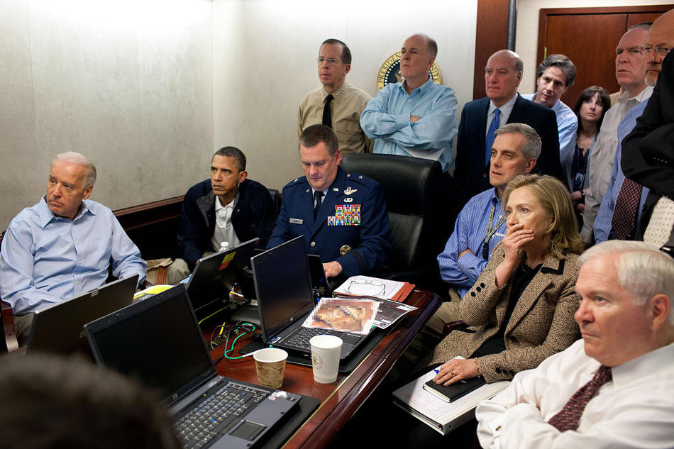 The Obama national-security team monitoring the mission against Osama bin Laden.