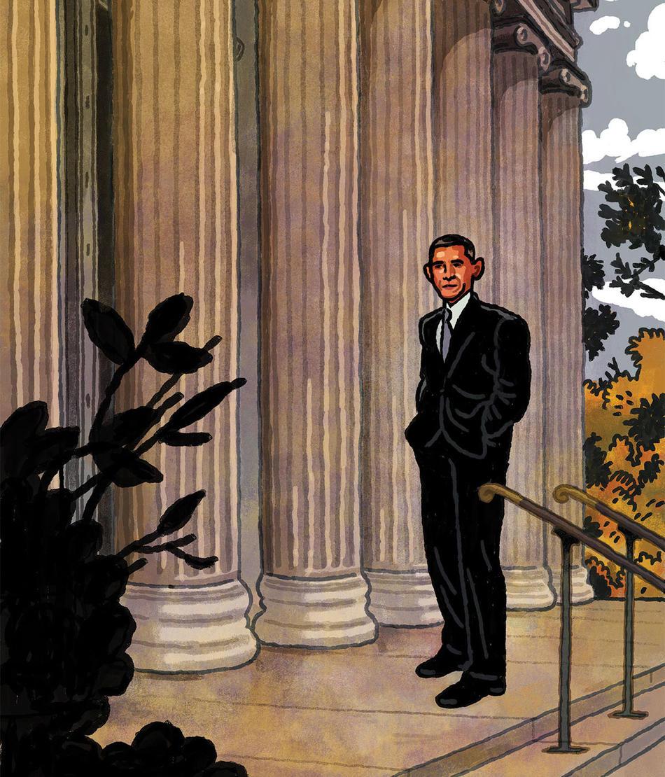 Illustration of Barack Obama in front of White House, by Richie Pope