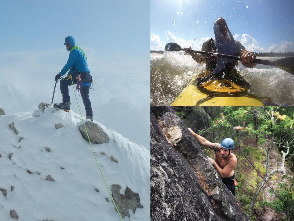 Eco-Challenge contestant Joshua Forester on mountaintop, in kayak, and climbing