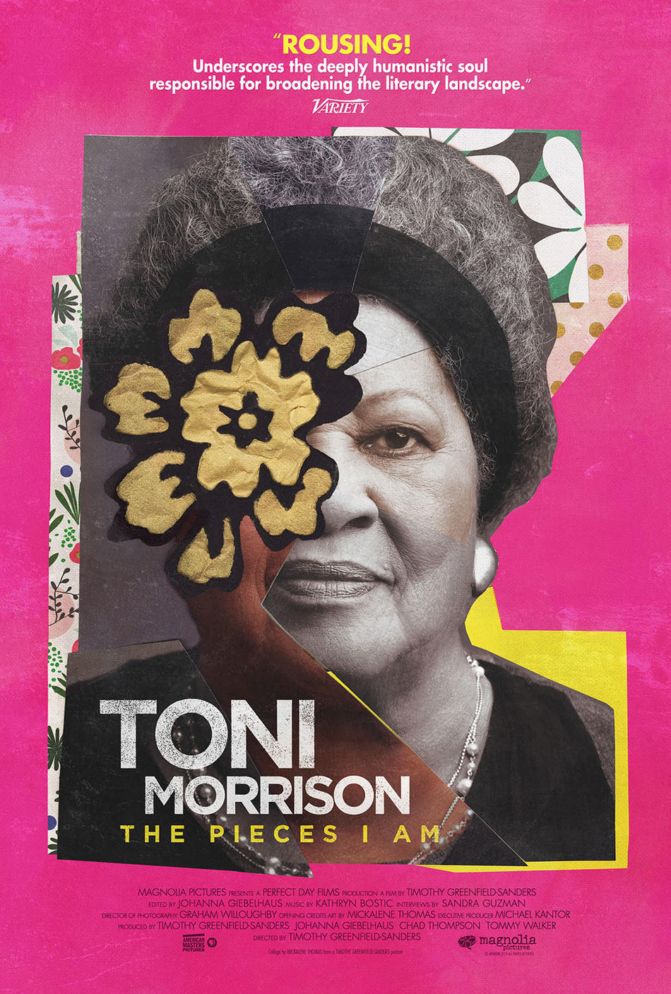 "Poster of Magnolia Pictures' ""Toni Morrison: The Pieces I Am"" with art by Mickalene Thomas, photo by Timothy Greenfield-Sanders"