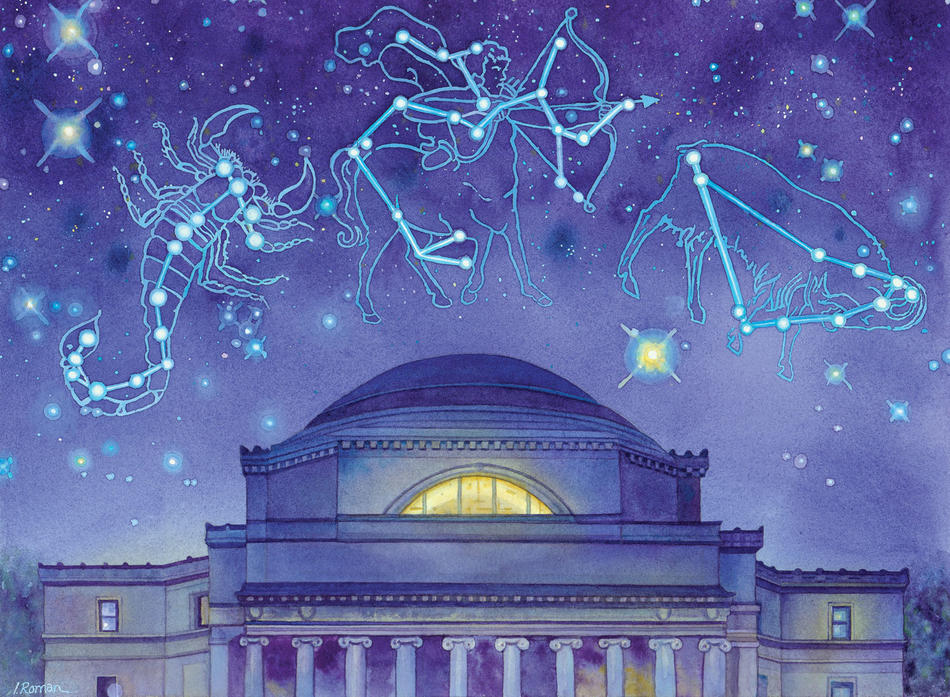 Illustration by Irena Roman of Columbia's Low Library underneath constellations