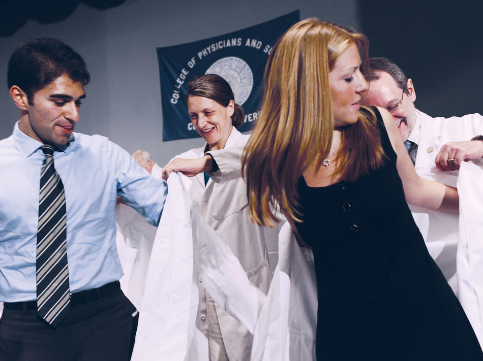 "Columbia medical students participating in ""white coat ceremony"""