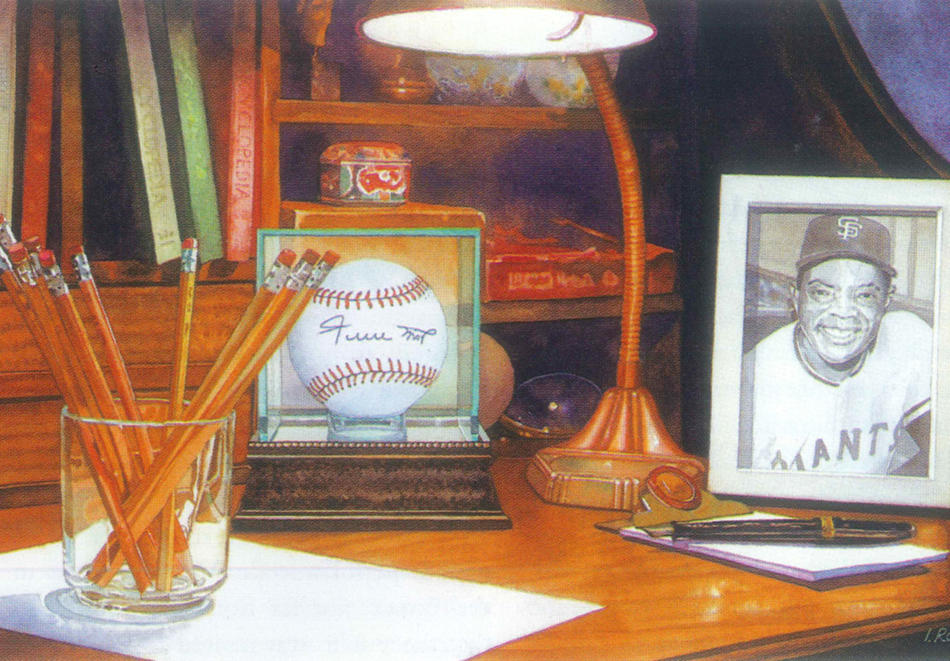 Illustration by Irena Roman of a writing desk with pencils, a typewriter, a signed baseball, and a framed picture of a baseball player