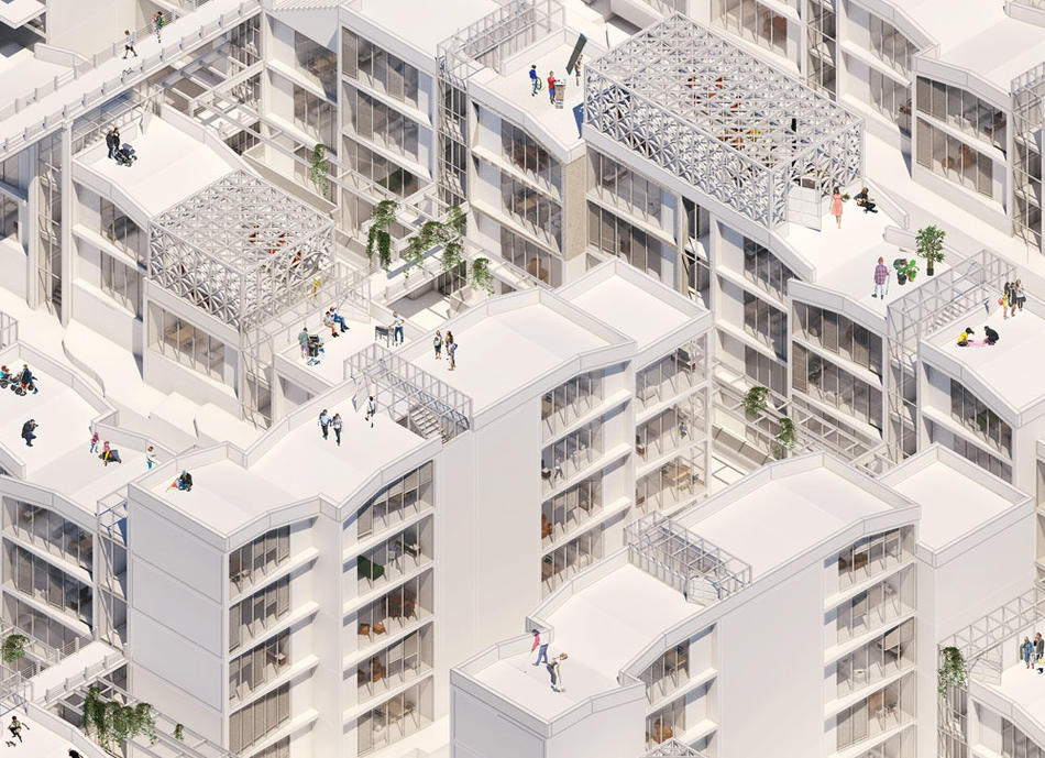 Rendering of a housing complex by Alexandros Howard Prince-Wright and Yoonwon kang