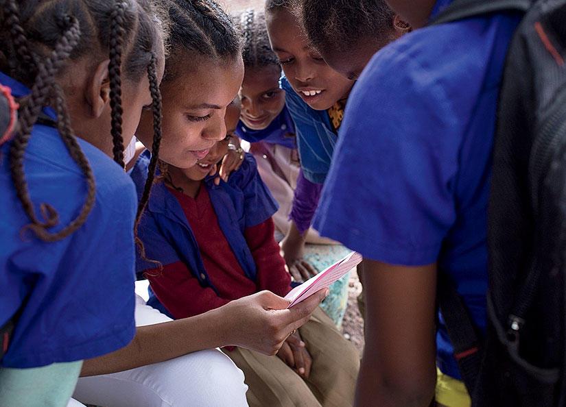 Atti Worku with Seeds of Africa schoolchildren