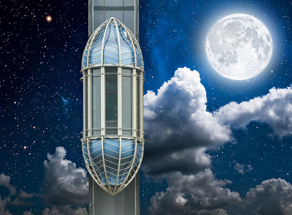An illustration of an elevator to the moon, from a proposal by Columbia astronomers Zephyr Penoyre and Emily Sandford