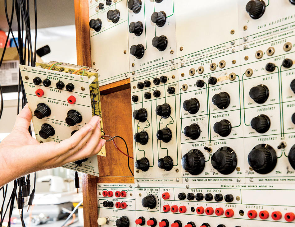 Restored vintage Buchla synthesizer, 100 series, at Columbia University