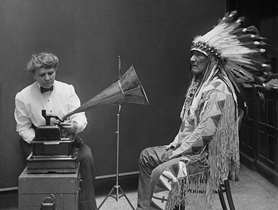 Frances Densmore and Mountain Chief, a Blackfoot leader