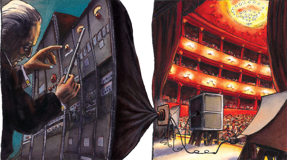 Illustration of a sound engineer working behind the scenes at a concert hall, by Philippe Lechien