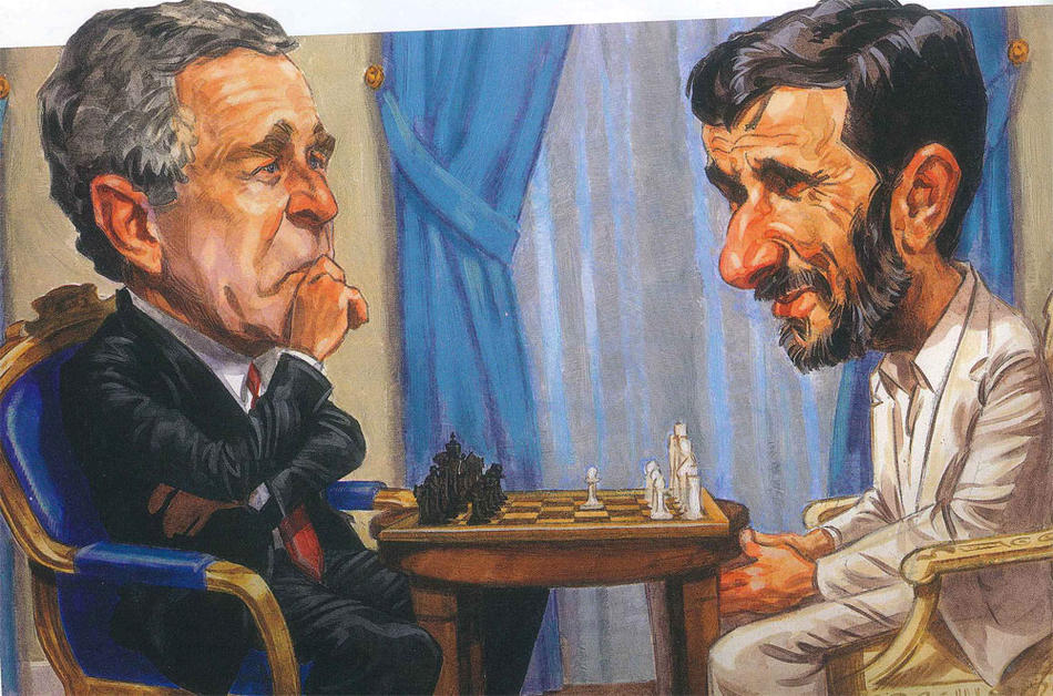 Illustration by Darren Gygi or George W. Bush playing chess with former Iran president Mahmoud Ahmadinejad