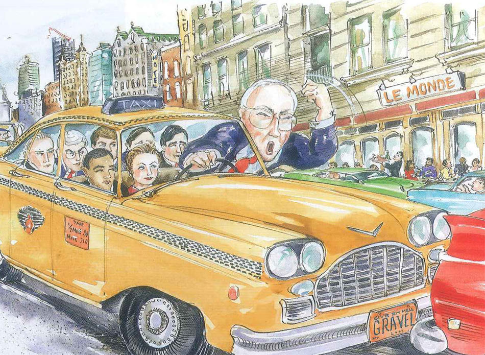 Illustration of Mike Gravel visiting Columbia University in a taxi in 2006, by Mark Steele