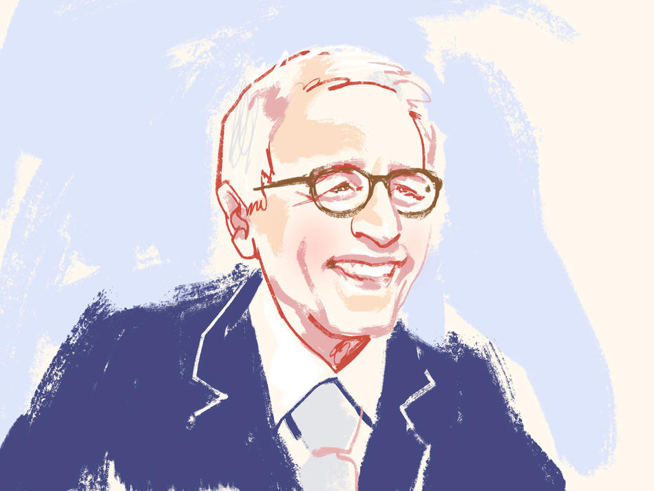 Illustration of Reynold Levy by Jonny Ruzzo, for Columbia Magazine