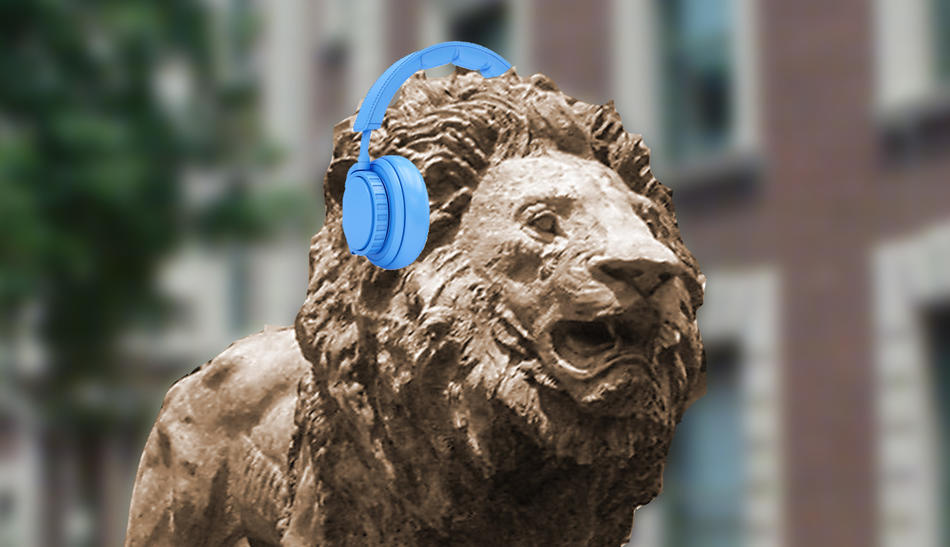 Columbia University Roaree statue wearing blue headphones