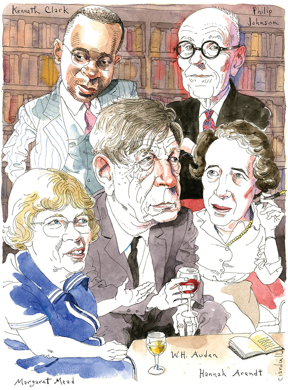 Illustration by Joe Ciardiello of Kenneth Clark, Philip Johnson, Hannah Arendt, W.H. Auden, and Margaret Mead for Columbia Magazine, Winter 2020-21